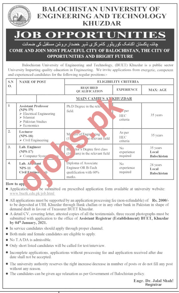 Assistant Professor Jobs in Balochistan University of Engineering and Technology