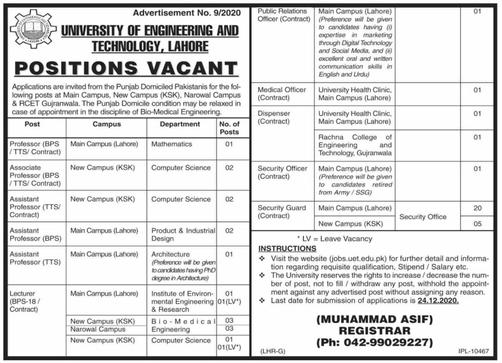 Assistant Professor Jobs in University of Engineering and Technology