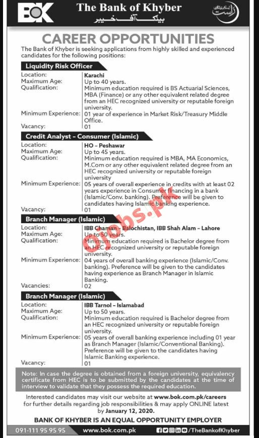 The Bank of Khyber BOK Jobs 2021 For Management Staff