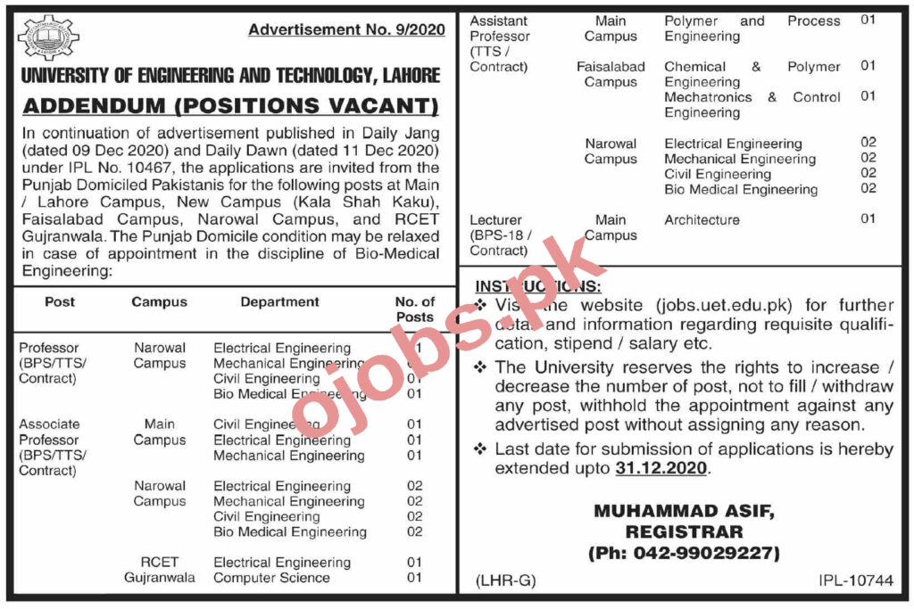 Professor Jobs in University of Engineering and Technology