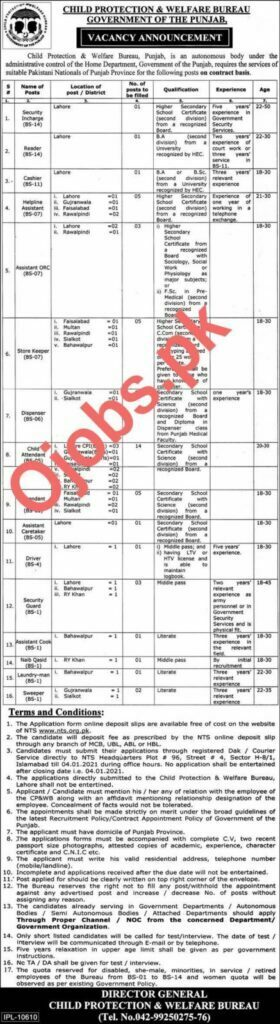 Jobs in Child Protection and Welfare Bureau Govt of the Punjab (