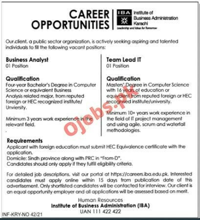 Institute of Business Administration IBA Jobs in Karachi 2021