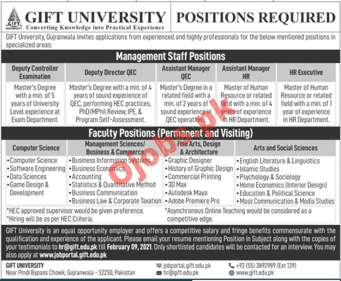 Gift University Faculty & Non Faculty Jobs in Gujranwala 2021