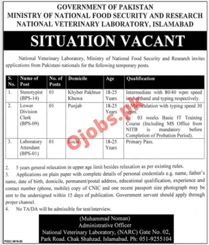 Ministry of National Food Security & Research MNFSR Jobs in Islamabad 2021