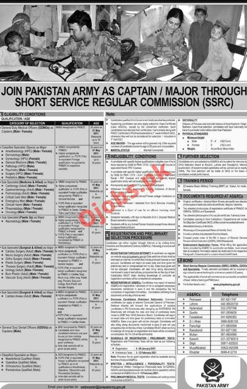 Army jobs in Pakistan Join Pak Army as Captain 2021 Online Registration