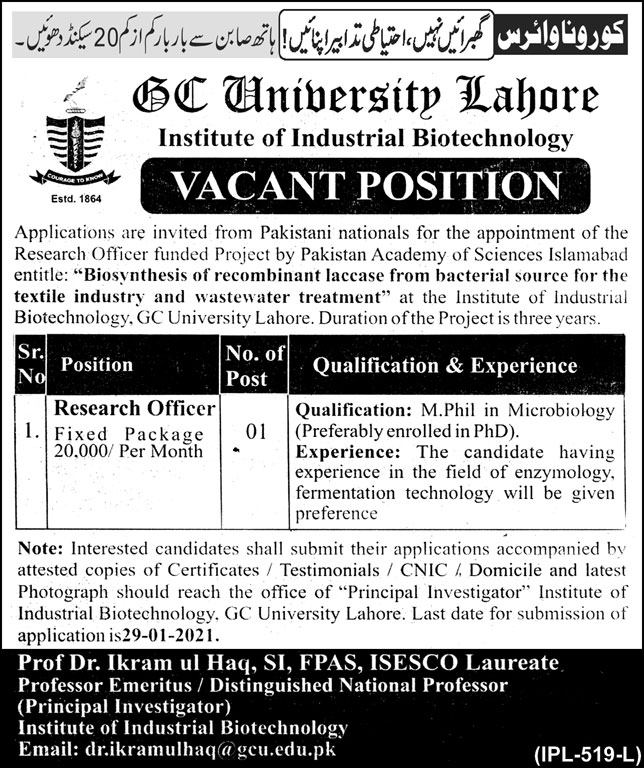 GC University Lahore Institute of Industrial Biotechnology Jobs in January 2021