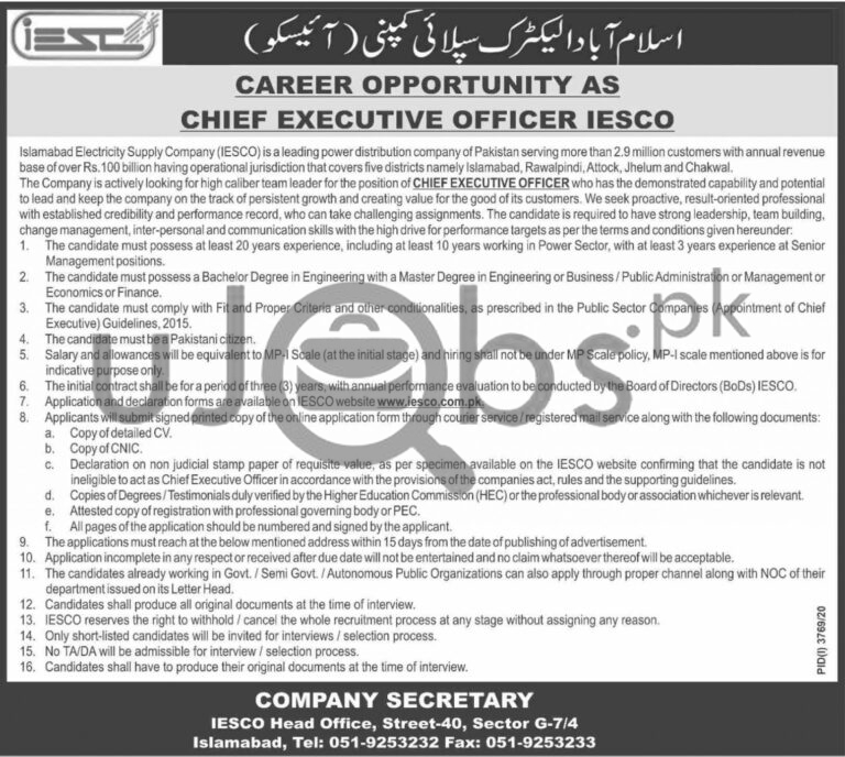 Islamabad Electricity Supply Company IESCO Jobs Chief Executive Officer