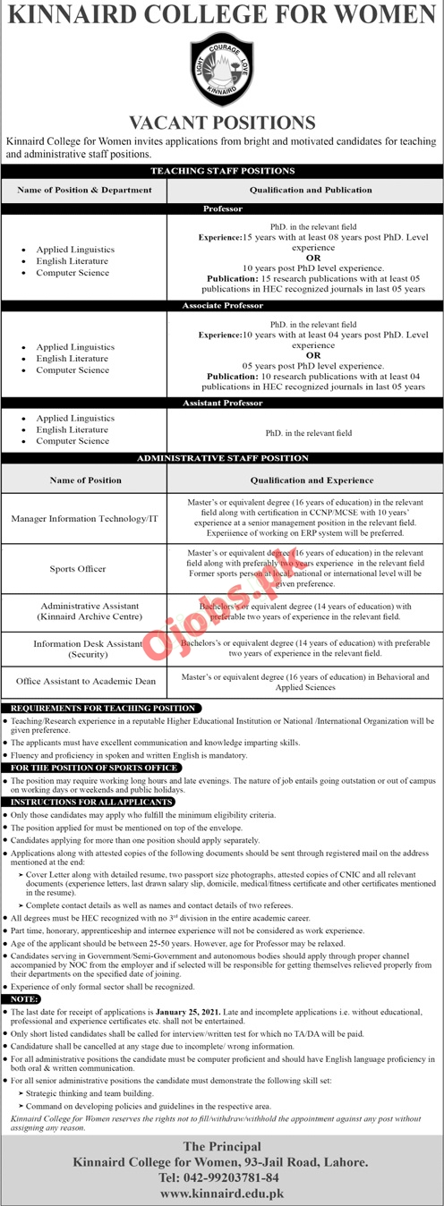 Kinnaird College for Women Jobs in Lahore 2021 for Teaching & Non-Teaching Staff