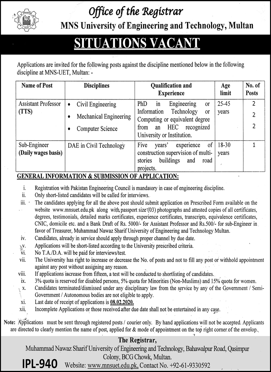 MNS University of Engineering and Technology Jobs in Multan 2021