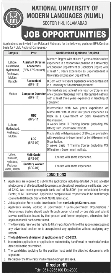 NUML Jobs 2021 for Non-Teaching Staff Application Form