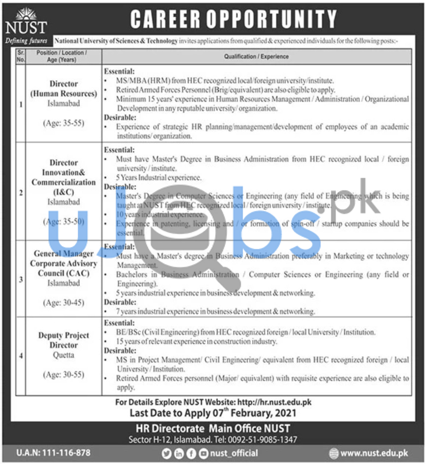 National University of Sciences Technology NUST Jobs 2021