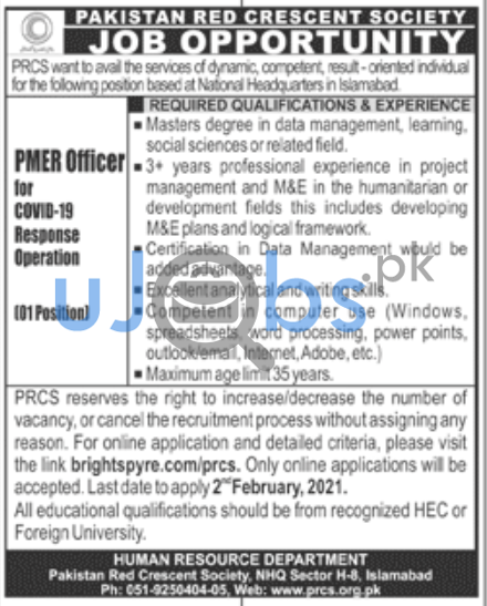 Pakistan Red Crescent Society PRCS Jobs in Islamabad 2021