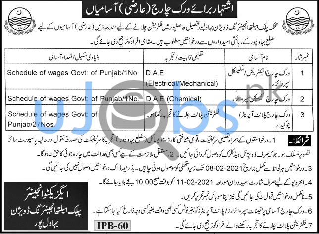 Public Health Engineering Department Jobs in January 2021