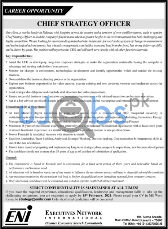 Chief Strategy Officer Jobs in Karachi 2021
