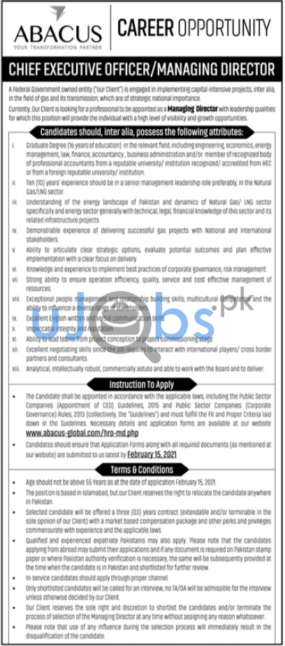 Chief Executive Officer CEO & Managing Director Islamabad Jobs 2021