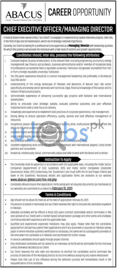 Chief Executive Officer CEO & Managing Director Jobs in Karachi