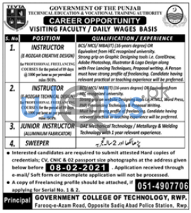 Government College of Technology (GCT) Jobs in Rawalpindi 2021