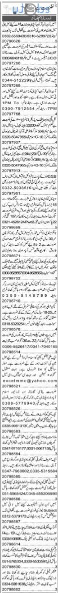 Daily Express Newspaper Classified Jobs in Islamabad 2021