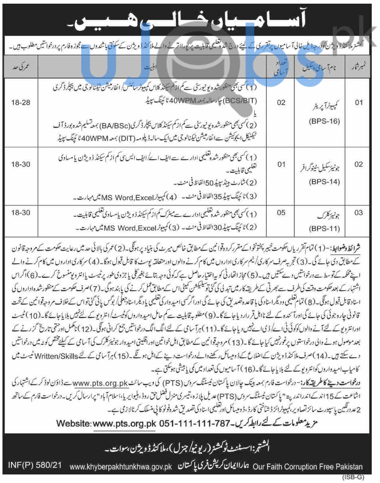 Commissioner Office Jobs in Malakand Division via PTS 2021