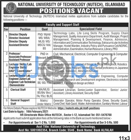 National University of Technology (NUTECH) Faculty & Support Staff Islamabad Jobs 2021