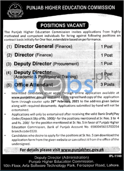 Punjab Higher Education Commission Jobs in Lahore 2021