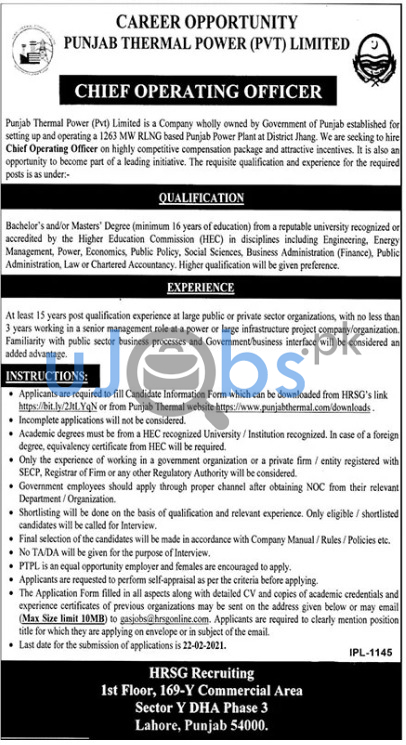 Chief Operating Officer Jobs in Lahore 2021