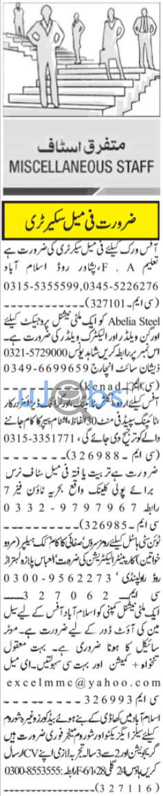 Daily Jang Newspaper Classified Jobs in Islamabad 2021