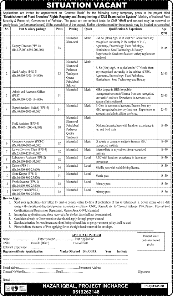 Ministry of National Food Security & Research (MNFSR) Jobs 2021