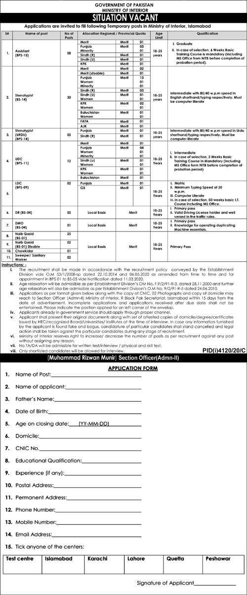 Ministry of Interior Jobs in Islamabad 2021