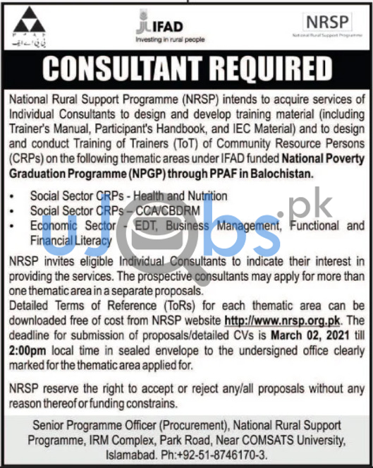 National Rural Support Programme (NRSP) Job For Consultants 2021