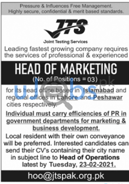 Joint Testing Services (JTS) Jobs 2021 For Head of Marketing
