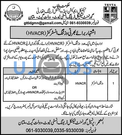 Government Technical Training Center Jobs 2021 For HVACR Visiting Instructor