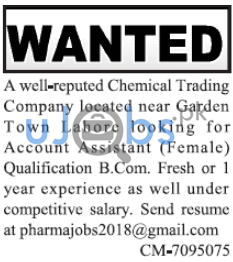 Account Assistance Jobs February 2021 in Lahore