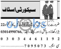 Lahore Security Staff Jobs February 2021