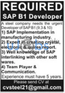 Steel Company Jobs 2021 For SAP Developers