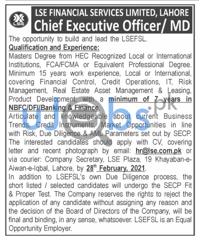LSE Financial Services Limited Jobs 2021 For CEO