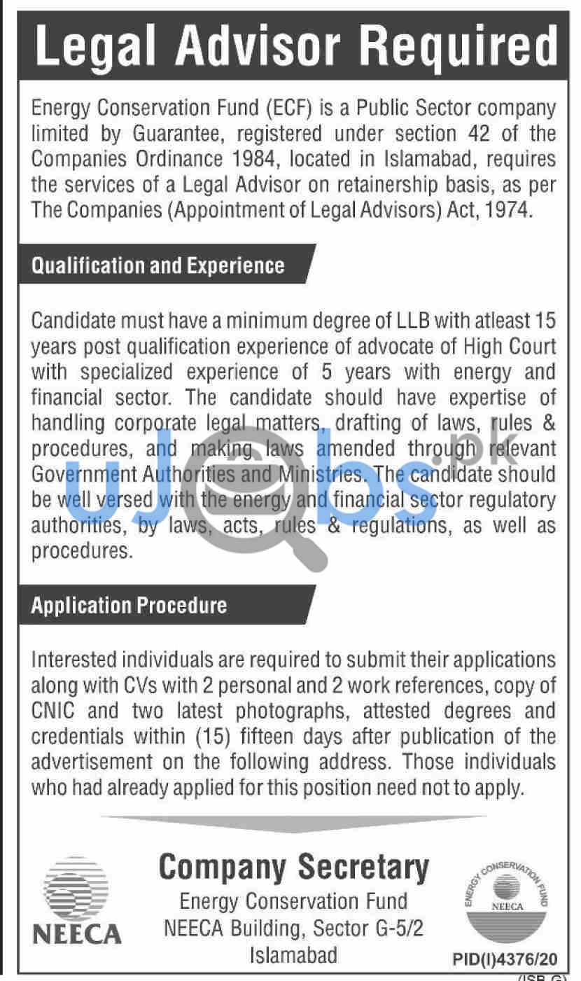 National Energy Efficiency & Conservation Authority (NEECA) Jobs in Islamabad 2021 For Legal Advisor