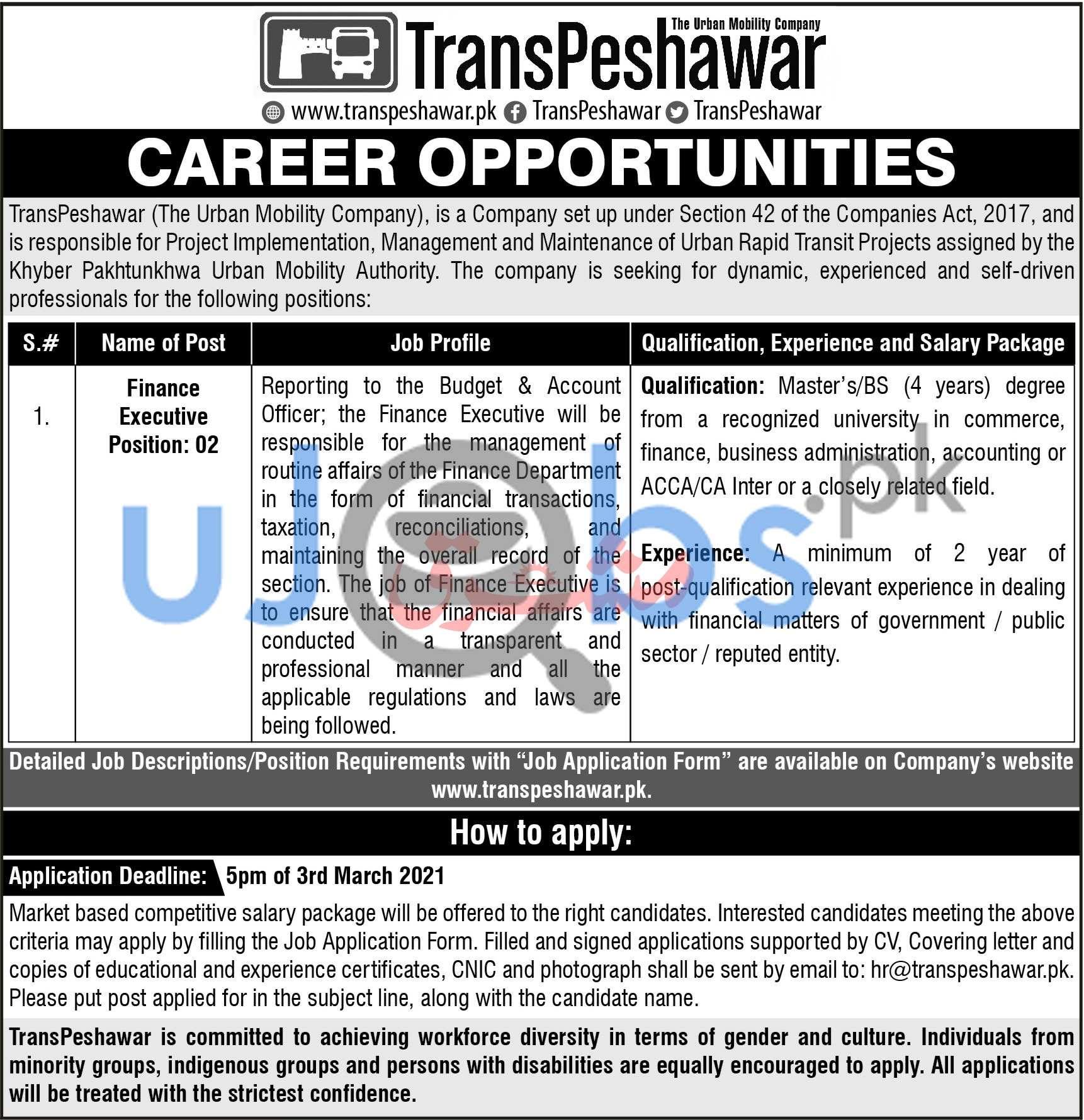 TransPeshawar The Urban Mobility Company Jobs 2021 For Finance Executives