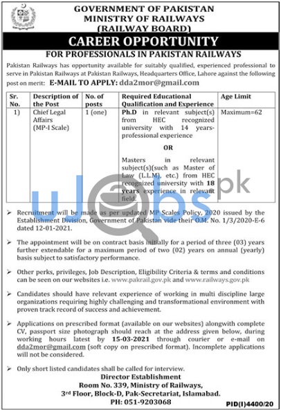 Ministry of Railways Islamabad Jobs For Chief Legal Affairs 2021
