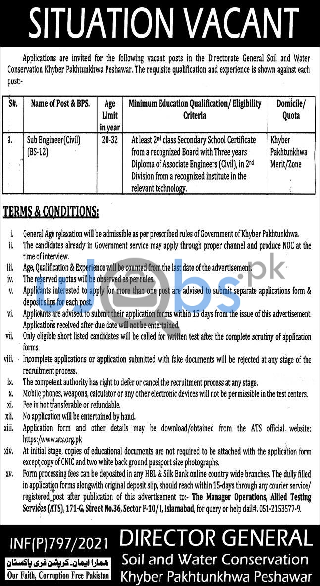 Directorate General of Soil and Water Conservation Job 2021 in Peshawar