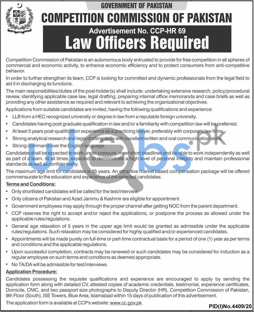 Competition Commission Of Pakistan Jobs 2021 For Law Officers