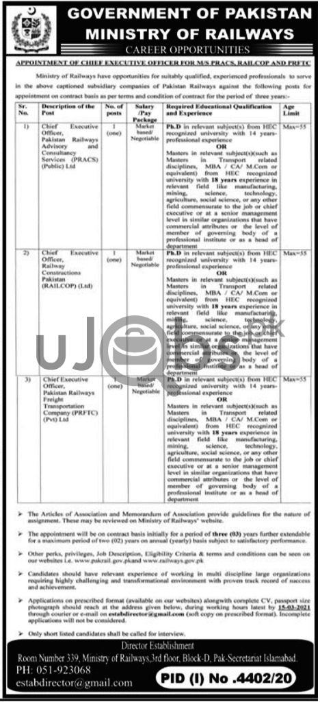 Ministry of Railways Jobs 2021 in Islamabad For CEO