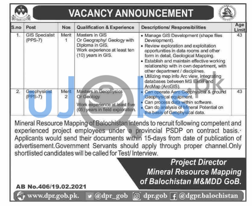 Mineral Resources Department Jobs in Quetta 2021