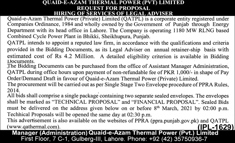 Quaid e Azam Thermal Power (PVT) Limited Jobs in Lahore 2021 For legal Advisor