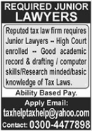 Lawyer Jobs in Lahore 2021