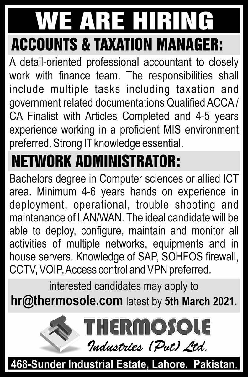 Thermosole Industries Pvt Limited Lahore Jobs 2021 For Manager