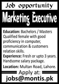 Marketing Executive Jobs in Lahore