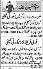 Daily Dunya Newspaper Classified Security Staff Jobs in Lahore 2021