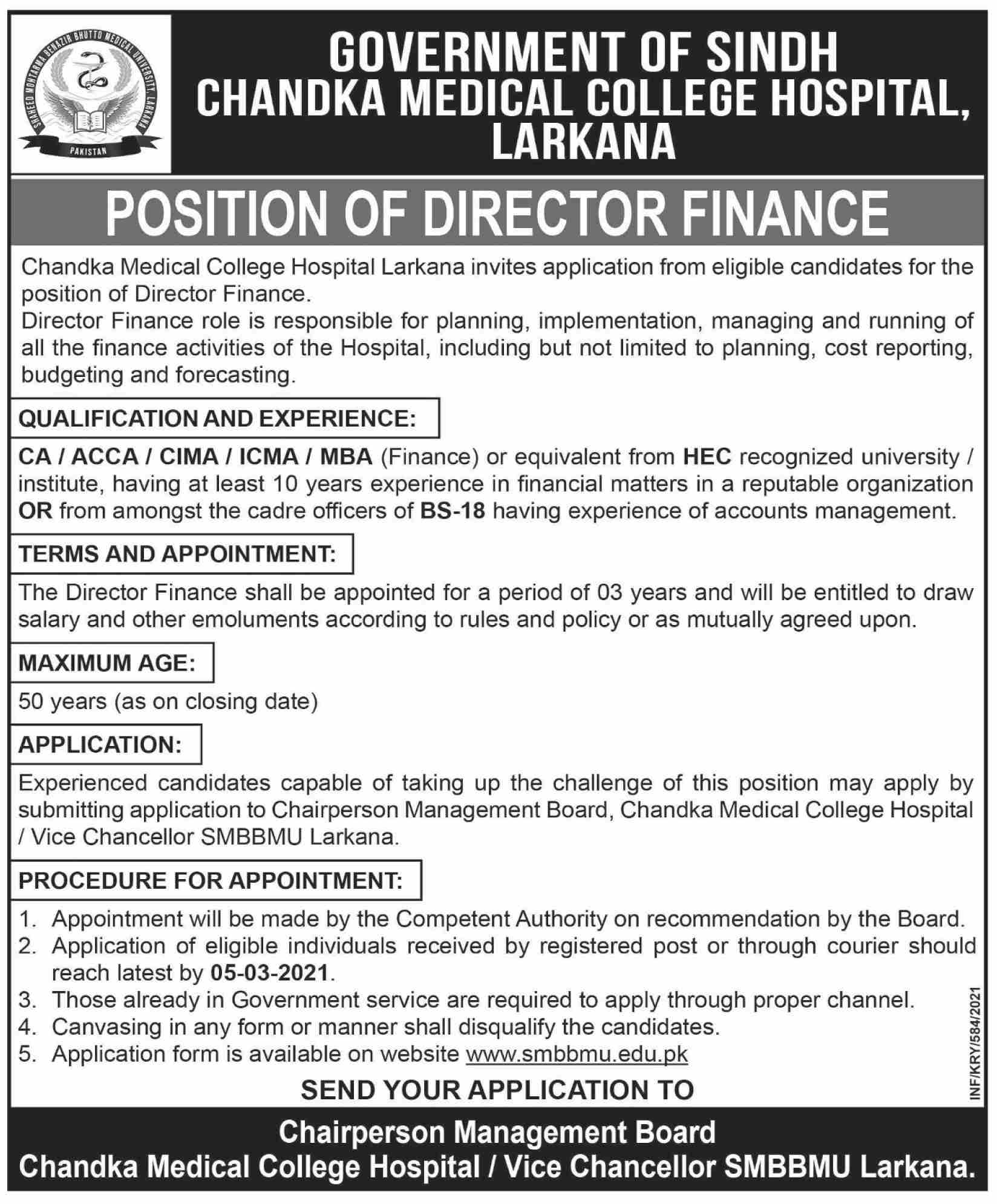 Jobs in Chandka Medical College Hospital For Director Finance