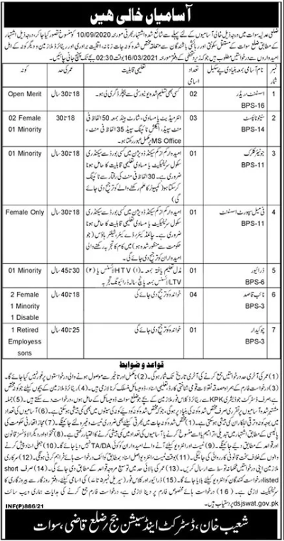District & Session Judge Office Swat Jobs 2021